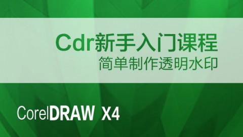 CDR新手入门课程简单制作透明水印